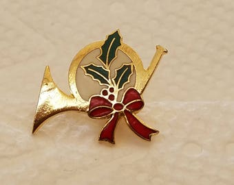 Christmas French Horn Tie Tac Pin, Christmas Pin