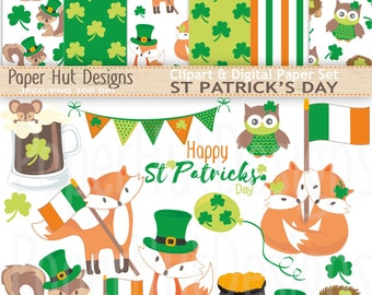 St Patrick's Day Clipart-Saint Patricks Day Clip Art and Digital Paper Set-Fox-Squirrel Leprachaun-Beer-Shamrock-BUY2GET1MOREFREE