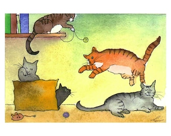 Cat Greeting Card - Funny Cat Card - Watercolor Cats Illustration Print  'It's A Hard Knock Life'