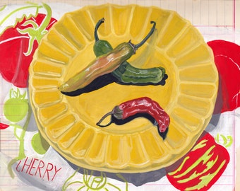 ORIGINAL PAINTING Chilis on a Plate in Gouache