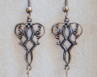 Earrings Silver Filigree Smoky Grey Gray Crystal Victorian Vintage #G02a One Of A Kind