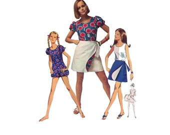 "Simplicity 8063, 60s sewing pattern, size 12 bust 34"" women's jumpsuit pattern, reversible wrap skirt"