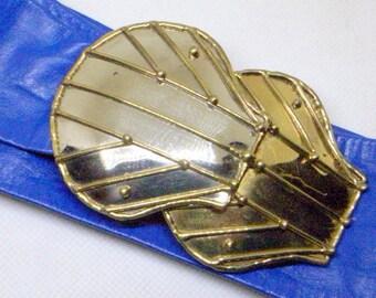 Vintage Luciano Brutalist Belt Buckle - Blue Leather Belt = Original Old Eagle Label - Signed - Mid-Century - Silver And Brass - BIG