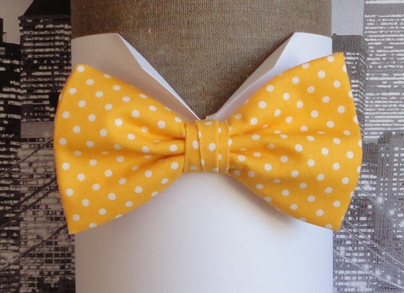 Yellow bow tie with white spots, pre tied or self tie men's bow tie