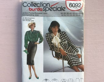 """Burda 6092 Retro Vintage 1990's Chanel Style Tweed Jacket, Pencil Skirt & Dolly Bow Blouse, Silk Satin, Sewing Pattern Size 8-40 Bust 34-40"""""""
