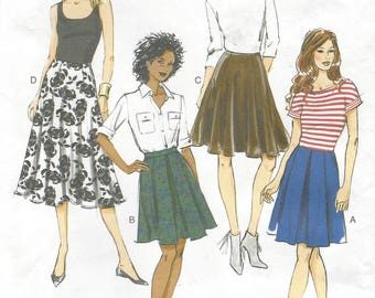 Womens Inverted Pleat and Gored Skirts Contour Waistband 2 Lengths Butterick Sewing Pattern B5929 Size 14 16 18 20 22 Hip 38 40 42 44 46 FF