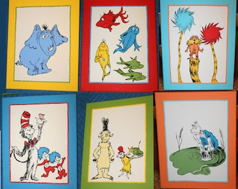 Set of SIX DR. SEUSS inspired Custom Hand Painted Wall Art Paintings
