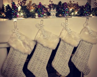 Stocking Name Tag, Custom Name Tag, Present Name Tag, Stocking Decoration, Christmas Decoration, Christmas Stocking Name, Silver Name, Gold