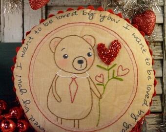 Valentine Teddy bear embroidery Pattern PDF - stitchery pillow LOVE red beads rick rack new vintage like heart primitive
