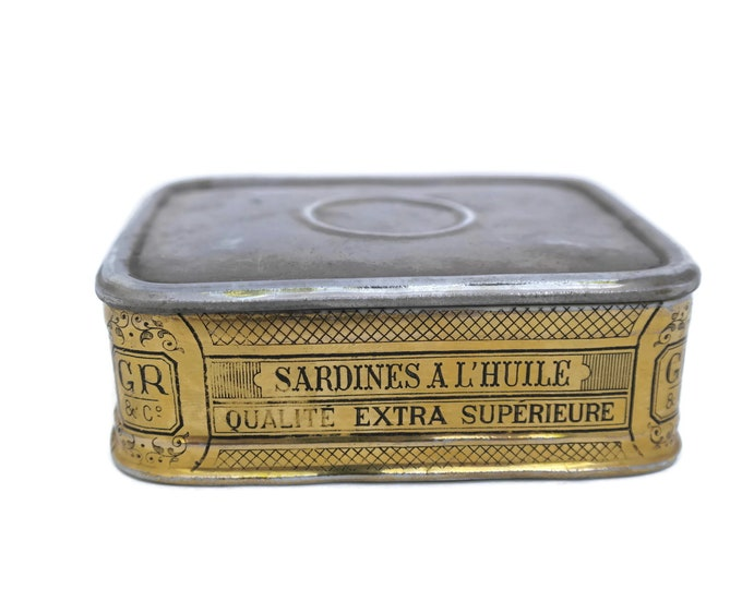 French Antique Porcelain Sardines in Oil Box. Trompe L'oeil Ceramic Faux Fish Tin Canister. Gr & Co Paris. Kitchen Decor and Gifts.