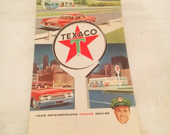 1961 TEXACO Alabama Road Map with the SE US