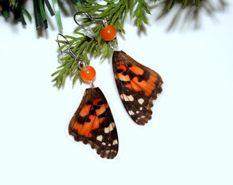 Painted Lady Butterfly Wing Earrings, Nature Jewelry, Vanessa Cardui Butterfly