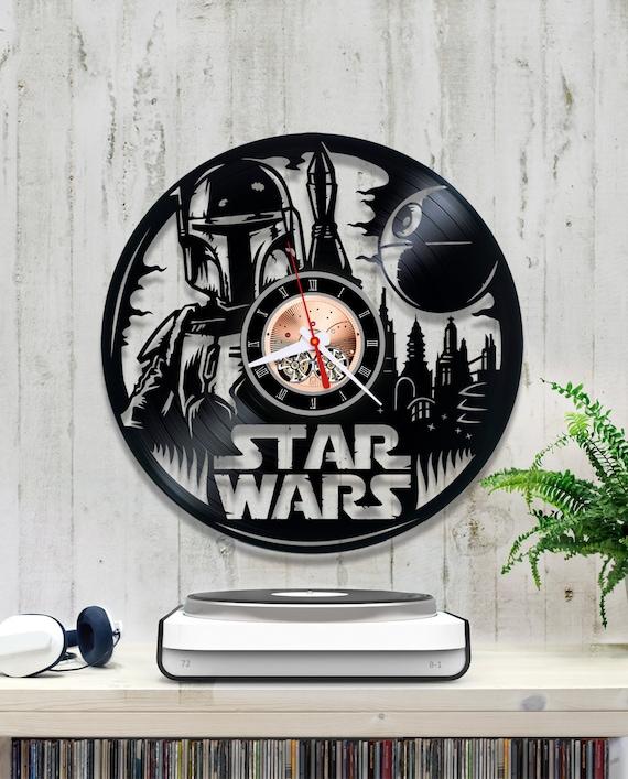 vinyl clock star wars boba fett record clock star wars lover. Black Bedroom Furniture Sets. Home Design Ideas