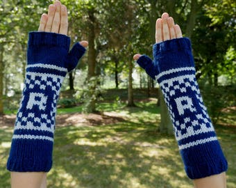 """Harry Potter Ravenclaw House Armwarmers - Hand Knit Fingerless Gloves - Wristwarmers - Blue & Grey Pattern Fingerless Mittens with """"R"""" Logo"""