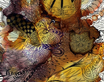 original art abstract alcohol ink zentangle framed 8x10