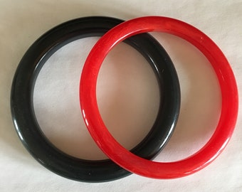 Bakelite Bangles Dark Green and Swirl Transluscent Red Vintage Tested Simichrome