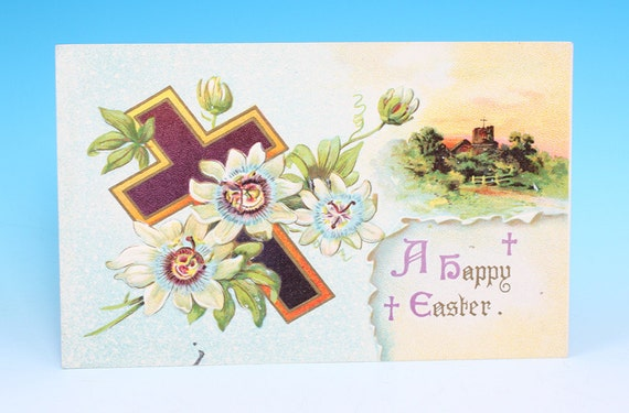 A Happy Easter Postcard Embossed Cross Flowers Divided Back 1910s