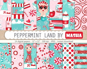 Peppermint Digital Paper Peppermint Pattern Peppermint Paper Pack Candy Cane Digital Paper Peppermint Stickers, Holidays Pattern, Candy Shop