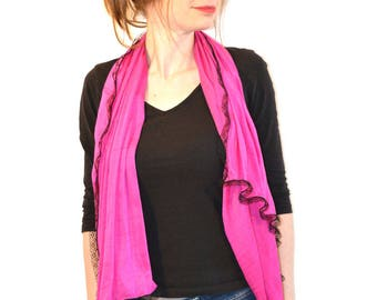 scarf pink with black lace