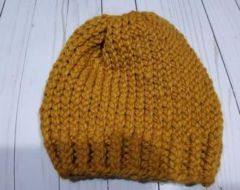 Hand Knit Chunky Ribbed Beanie