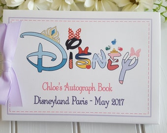 Personalised DISNEY AUTOGRAPH BOOK * Minnie Mouse, Goofy, Sleeping Beauty, Elsa, Daisy Duck, Snow White* Memory Photo Scrapbook Album