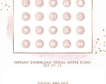 Blush Watercolor Instant Download Social Media Icons, ( ICON5 )