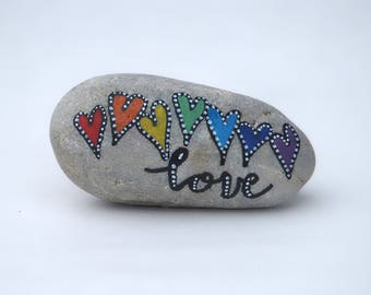 Painted pebbles, pebble art, hand painted rocks, painted stones - hearts with love text, painted heart pebbles