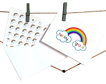 Rainbow Stationery - Rainbow Cards - Personalized Rainbow Stationery - Rainbow Thank You Cards - Custom Kid Stationery - Set of 8 or 12