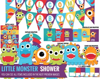 Little Monster Baby Shower Decorations Package. Printable Baby Monster Theme Shower Decor - Funny Gender Neutral Shower - Digital Download