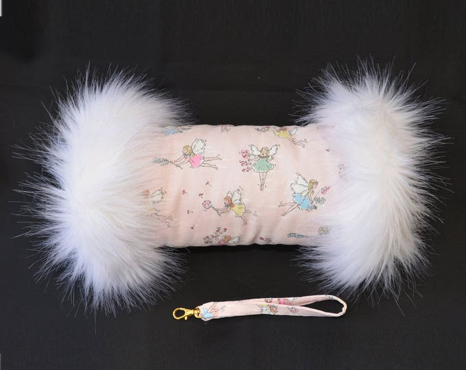 Cath Kidston Garden Fairies Hand Muff with Luxury White Faux Fur Trim