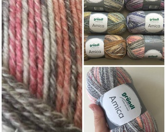 Cotton summer yarn Amica from Gründl apricot pink brown and white colours for needle size 3.5 - 4.5 100g per ball 300 meter code 09