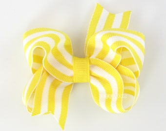 Yellow and White Striped Hair Bow - Baby Toddler Girl Hairbow - 3 Inch Boutique Bow on Alligator Clip Barrette Lemon Bright Preppy Taffy