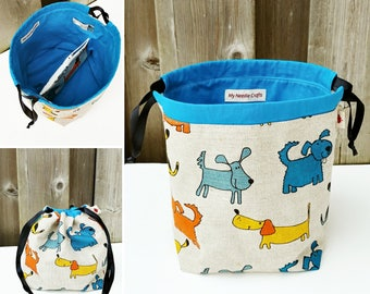 Sock Knitting Bag in Puppy Dog Print Linen, two at a time Project Bag, Knitting Tote, Knitting Bag - Socksack