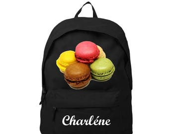Black backpack Macarons customized with name