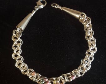 AJs Sterling Silver Chainmaille Vintage Woven Bead Handmade Bracelet
