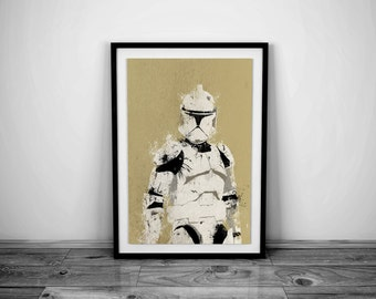 Star Wars Art Clone Trooper Art Clone Trooper Poster Star Wars Print Clone Trooper Print Star Wars Poster Star Wars Gift