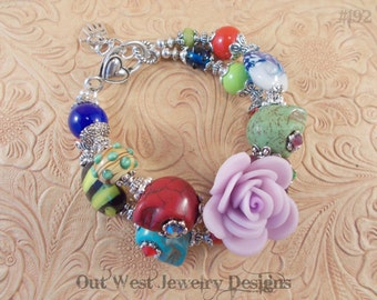 Chunky Day of the Dead Bracelet with Howlite Turquoise Sugar Skulls and Lampwork No. 192