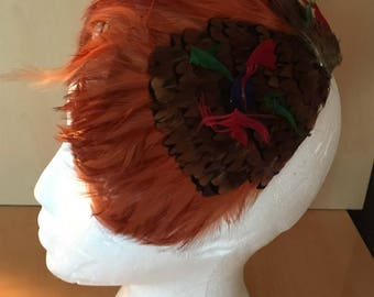 Beautiful Vintage Feather Cap Hat