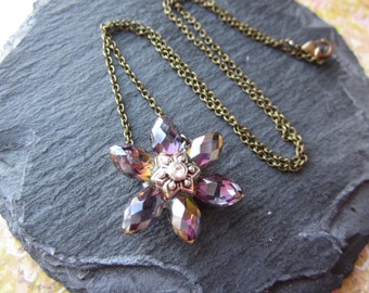 Crystal Flower Necklace, Antique Brass Flower Necklace, Simple Flower Necklace, Boho Style Necklace, Handmade Jewelry, Mixed Metals Necklace