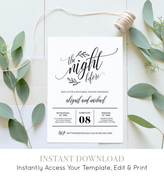 Wedding Rehearsal Dinner Printable, DIY Rehearsal Invitation Template, Night Before, Instant Download, Fully Editable, Digital #020-107RD