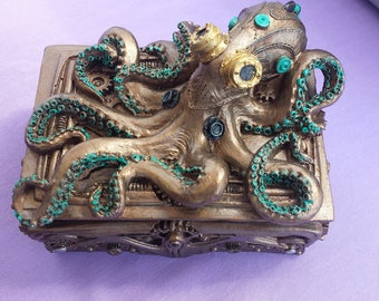 Steampunk Octopus treasure box, Trinket box, Jewelery box