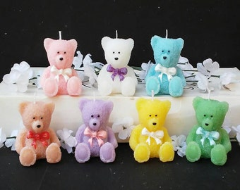 Set of Seven/ Scented Bear Candles