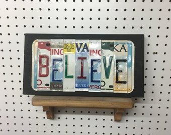 License Plate Sign License Plate letter Art Picture Home Deco BELIEVE License Plate Letter Sign
