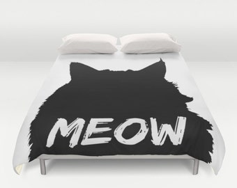 Cat Duvet Cover, Full Queen King Duvet, Meow Bed Cover, Cat Lover Duvet Black & White Bedding, Cat Lady Gift, Cat Comforter, Cat Silhouette