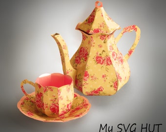 3D SVG Teapot with Cup and Saucer DIGITAL download