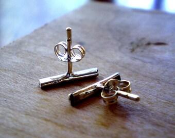 Reclaimed Sterling Silver Linear Line Stud Earrings