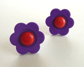 ns-CLEARANCE - Purple and Red Flower Stud Earrings