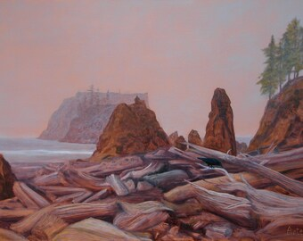 """Very Large Oil Painting """"Ruby Beach Olympic National Park"""" Pacific Ocean Driftwood and Raven by Antel Glowing Copper metallic Painted Canvas"""
