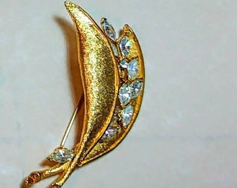 Vintage BSN Sparkling Marquise Rhinestone Leaf Pin