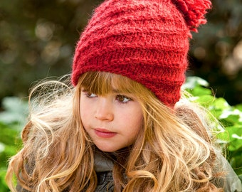 Back to school spiral hat DIY Knitting PATTERN, swirl hat pattern, women's hat with pompom  - toddler, child, teen, adult sizes - cheap